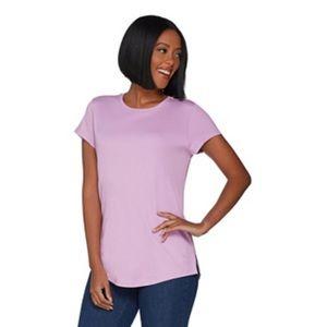 IsaacMizrahi Pima Cotton Curved Hem T-Shirt